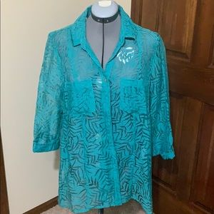 NWOT turquoise see through tunic top